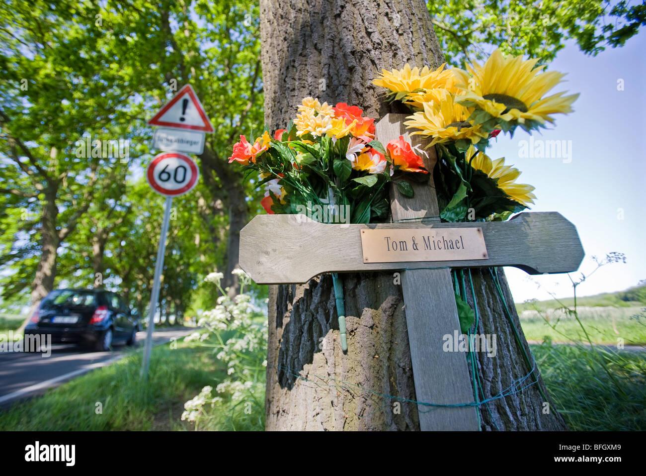 Kreuz fuer zwei Unfalltote an einer Allee auf Ruegen . Stock Photo