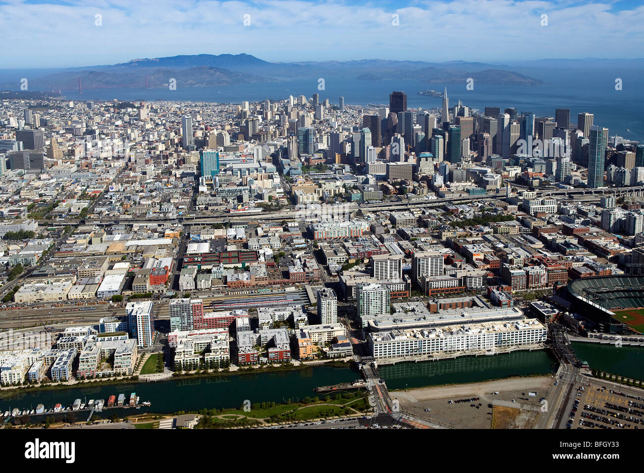 aerial view above San Francisco south of market area Mission Creek - Stock Image