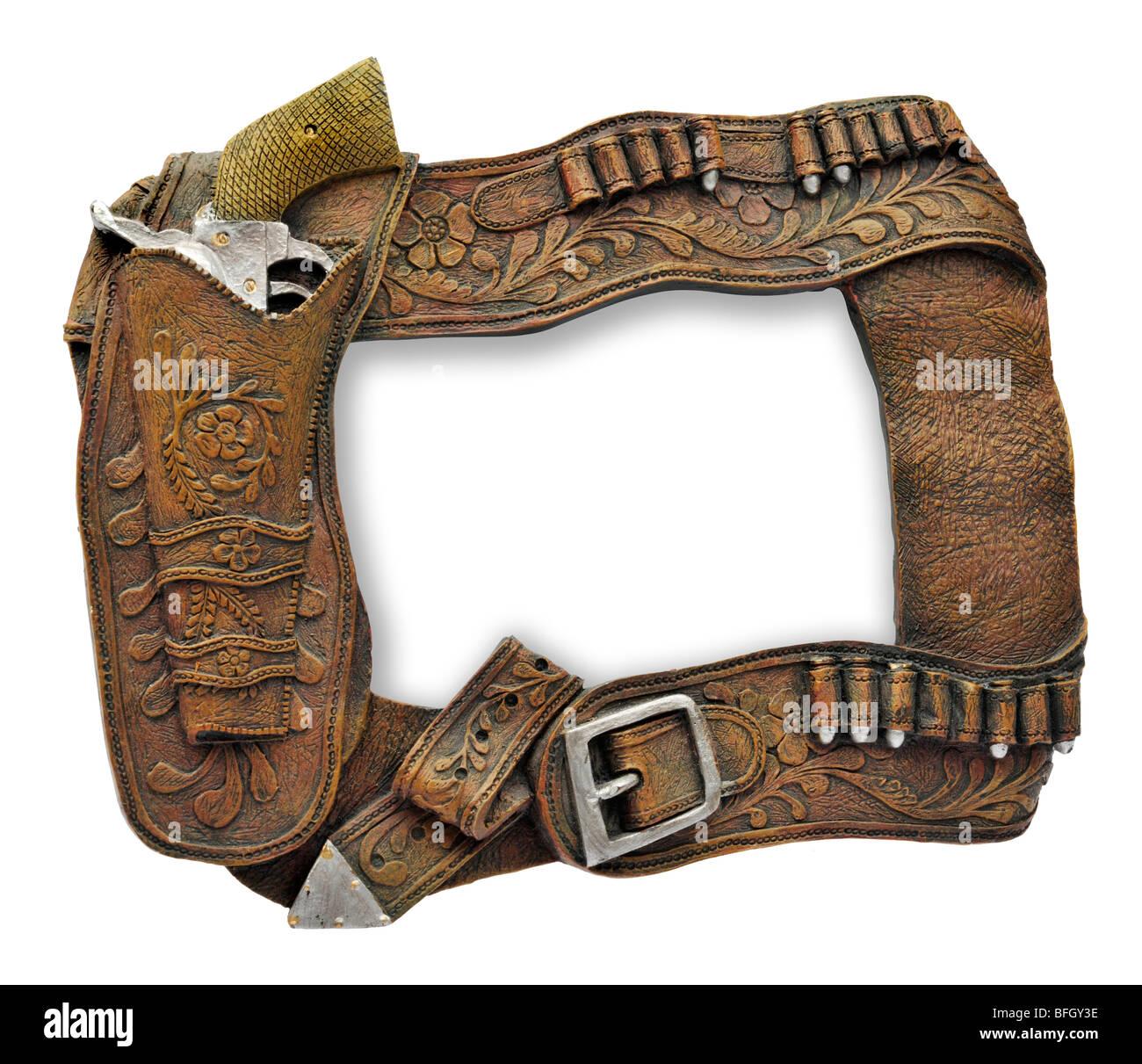 Picture frame made up of cowboy gun-belt, bullets gun and holster ...