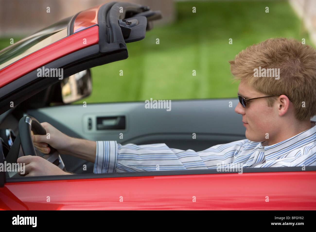 Man Driving Car - Stock Image