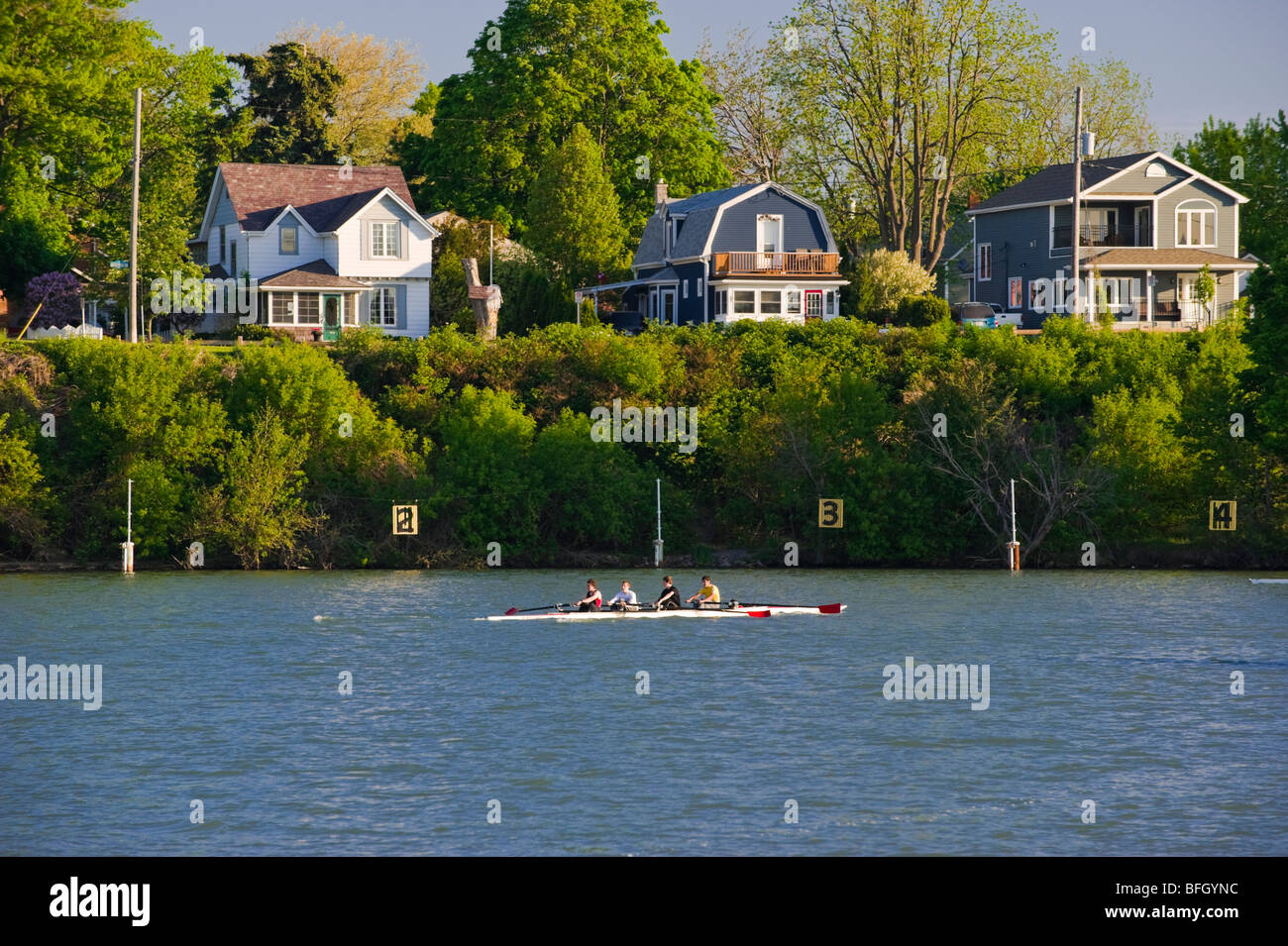 Rowers on Canadian Henley Regatta course on Martindale Pond, Port Dalhousie in St. Catharines, Ontario, Canada. - Stock Image