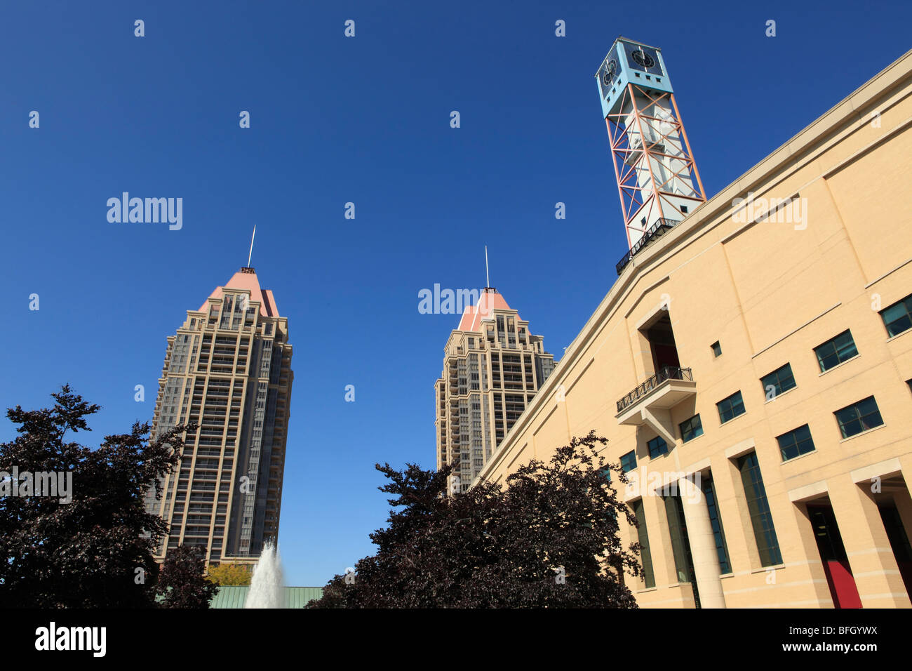Mississauga City Hall and Condominium Buildings, Mississauga, Ontario, Canada - Stock Image