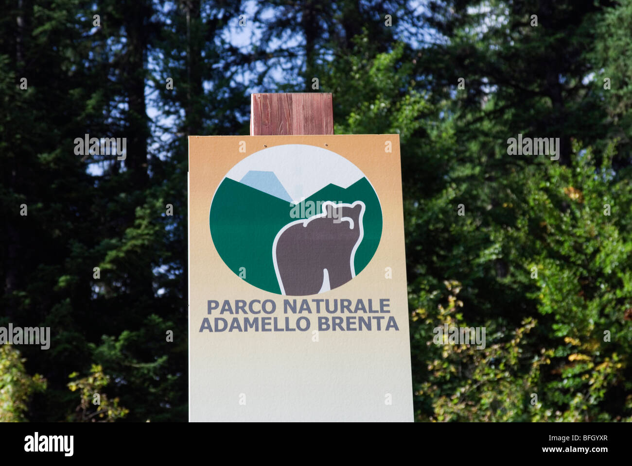 Signboard With The Symbol Of Adamello Brenta Natural Park Trentino
