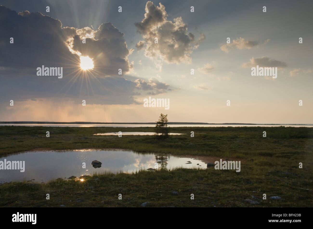 Sunbeams through storm clouds over summer tundra pond near Churchill, Manitoba Canada - Stock Image