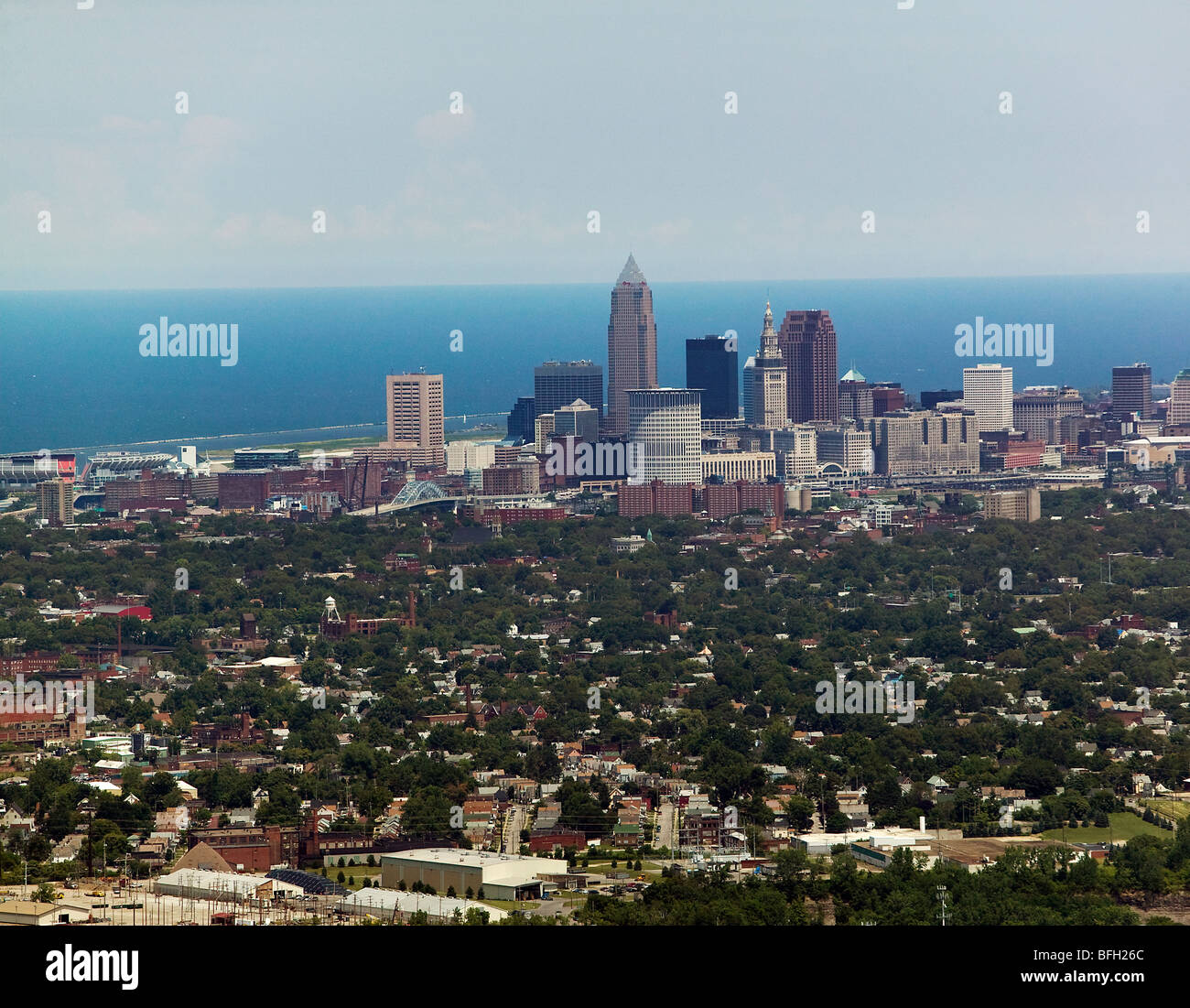 aerial view above Cleveland Ohio skyline Lake Erie - Stock Image