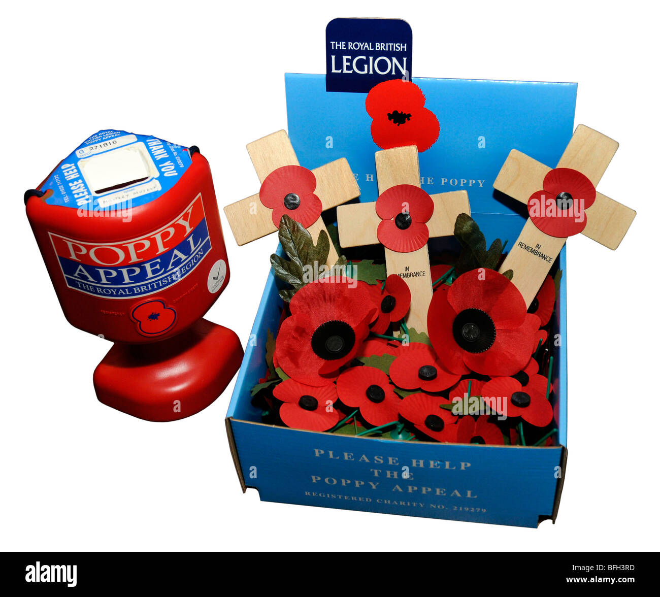"""The Royal British Legion collection box for poppy appeal on """"white background""""  Remembrance Day Poppy Appeal - Stock Image"""