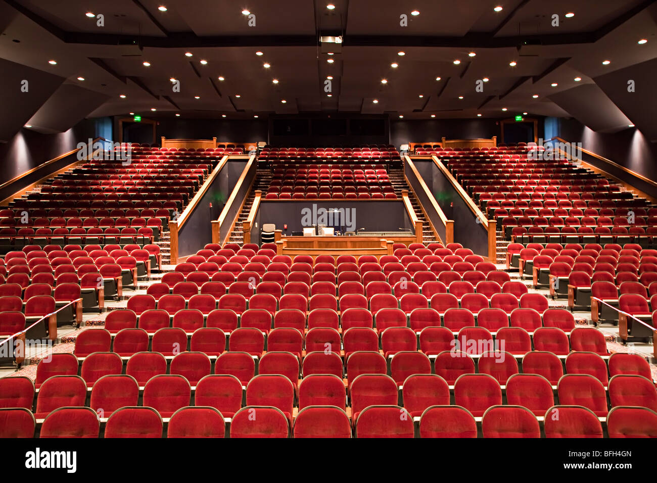Empty auditorium with red seats Kerrville Texas USA Stock Photo