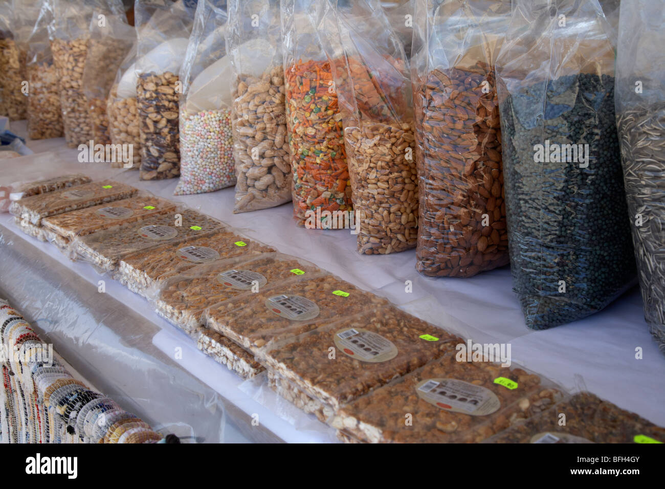 various fresh nuts seeds and sweets for sale on a stall in the republic of cyprus europe - Stock Image