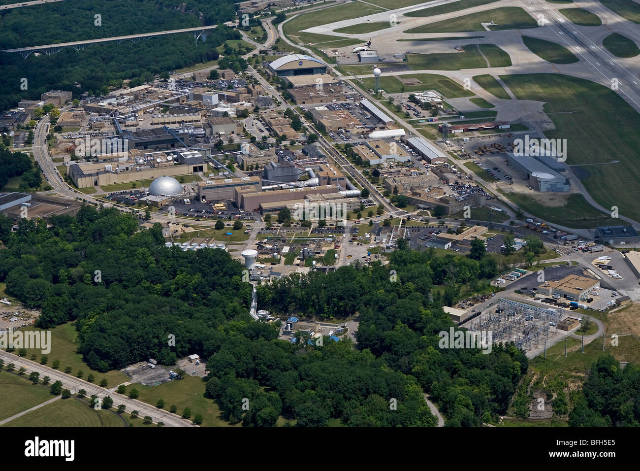 aerial view above National Aeronautics and Space Administration NASA Glenn Research Center at Lewis Field Brook - Stock Image