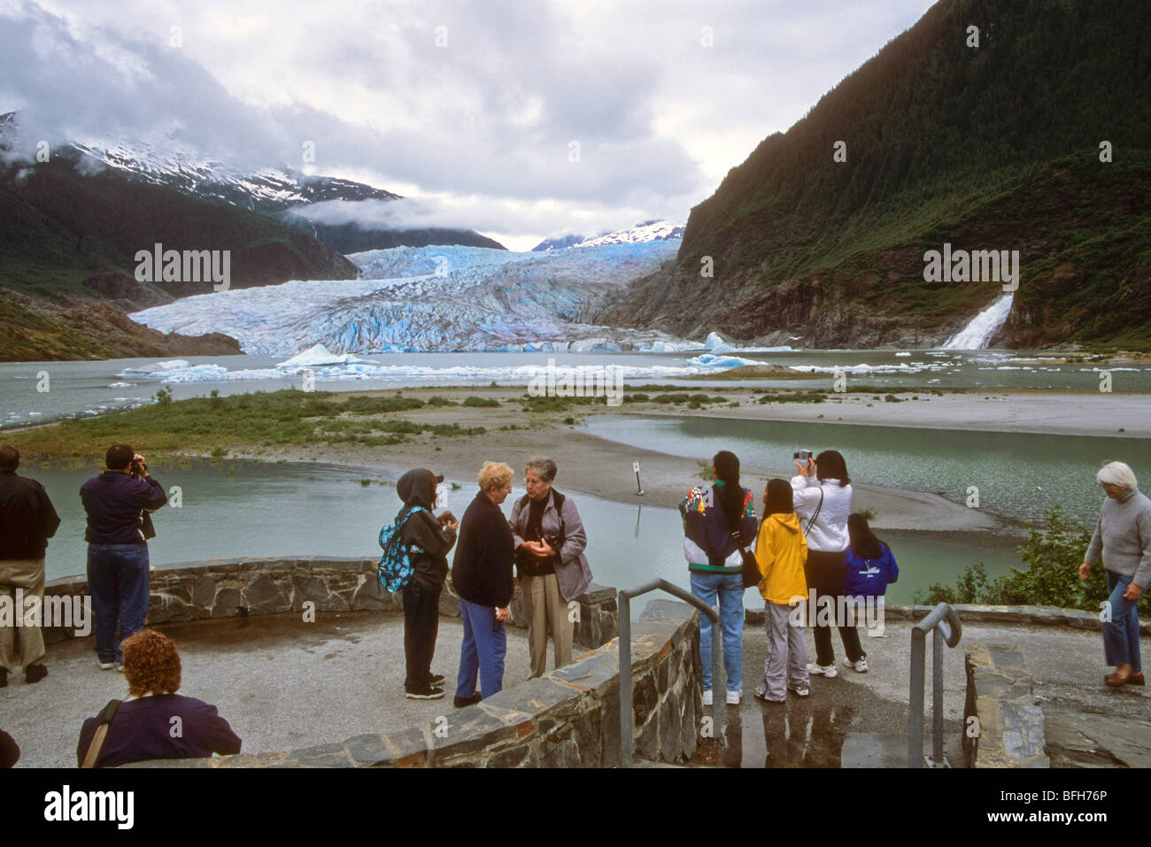 river of ice snow frozen blue retreat melt global warming - Stock Image