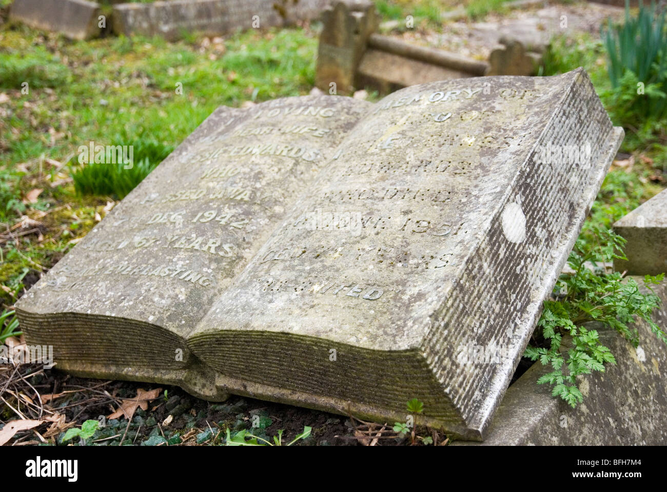Stone book at Highgate cemetery in London England UK - Stock Image
