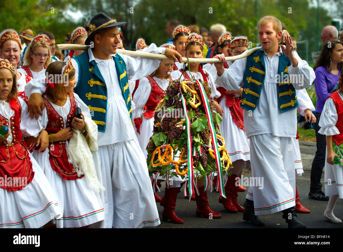 People in traditional Hungarian dress - Annual wine ...