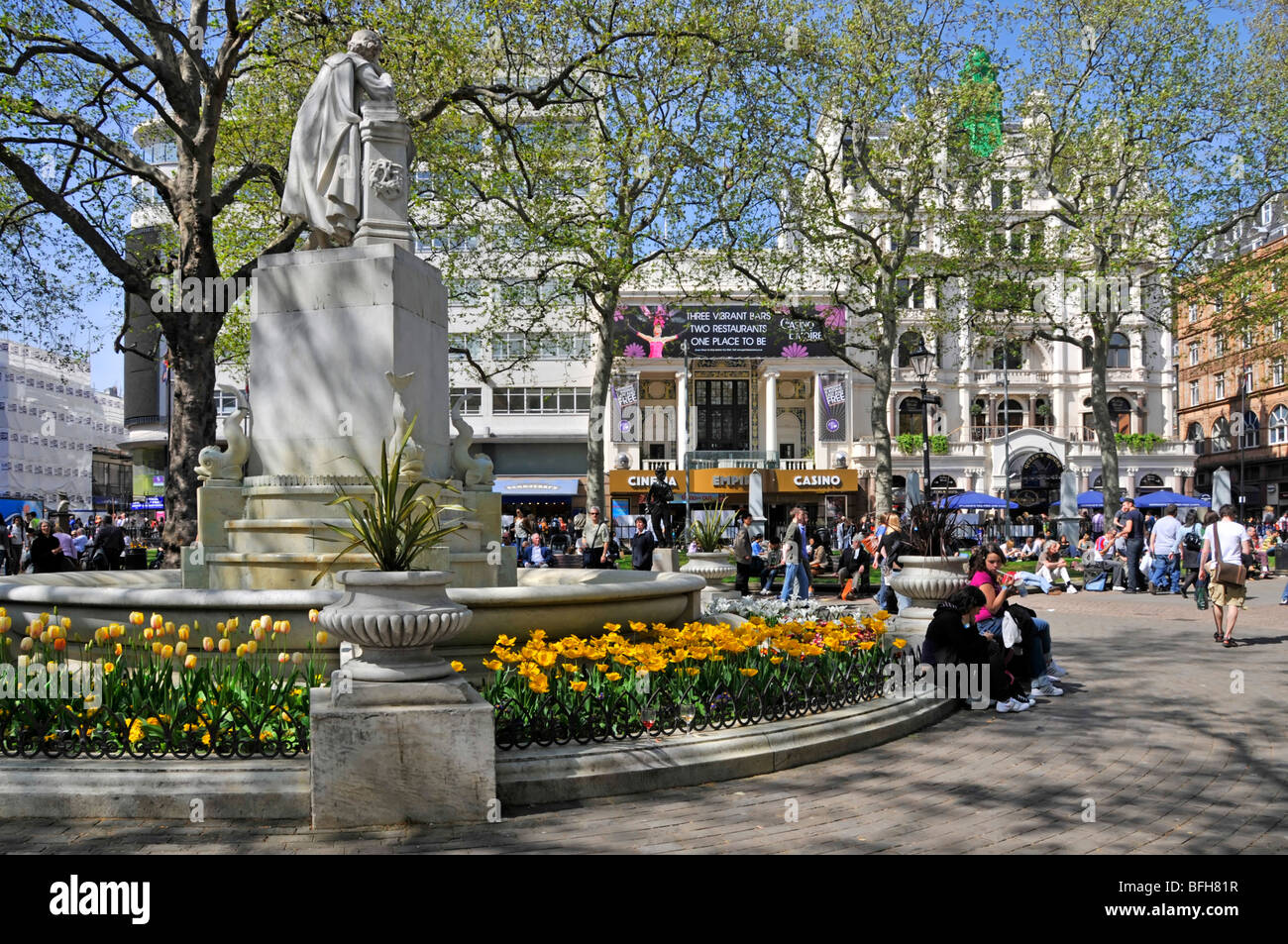 Leicester Square spring bulbs - Stock Image