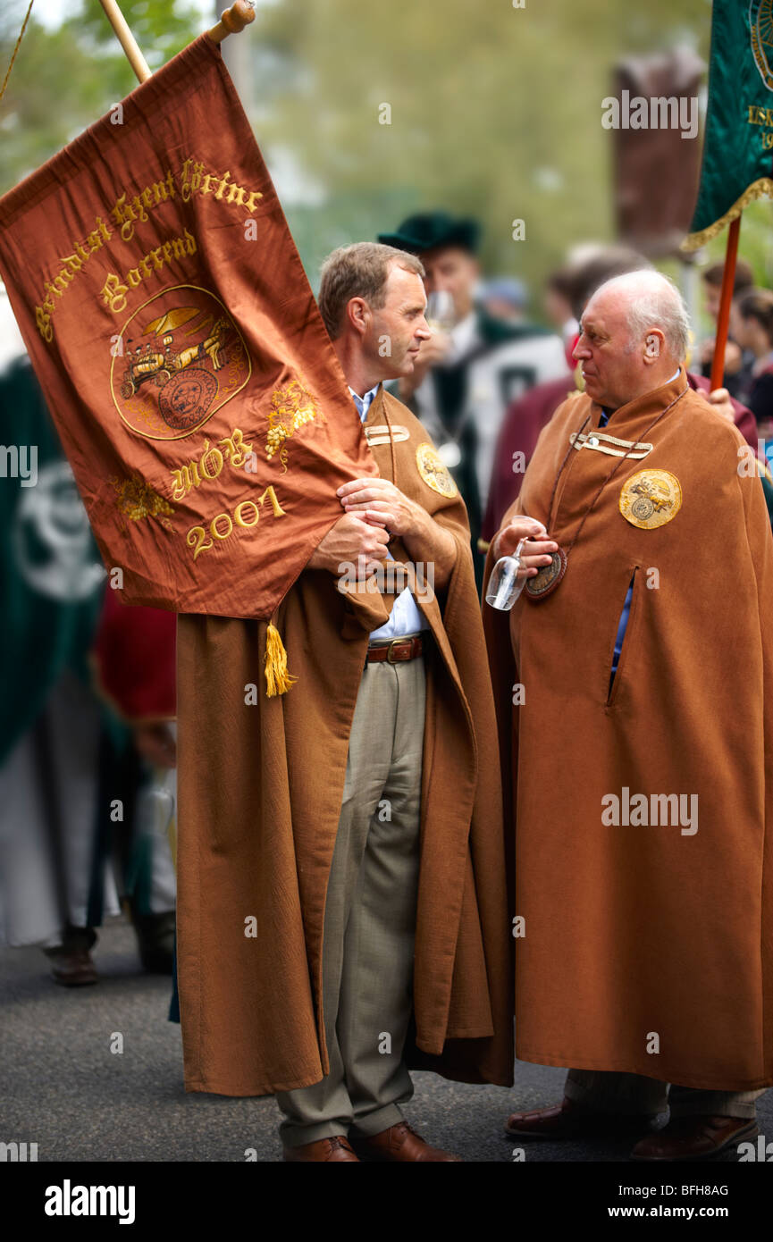 Hungarians in folk dress at a wine harvest festival - Stock Image