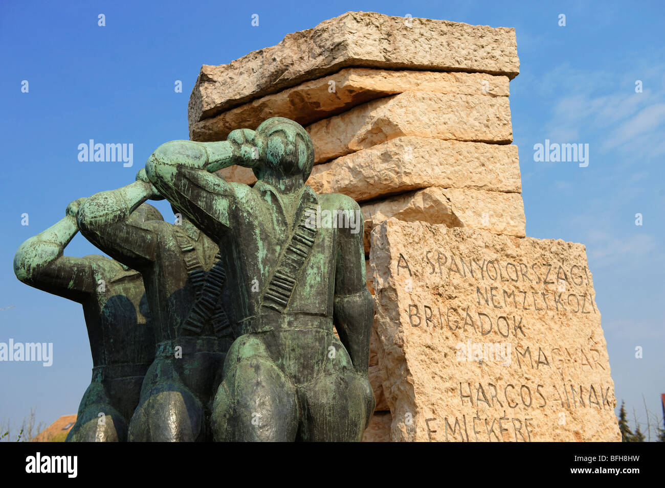 Memorial for the soldiers of the Hungarian Spanish Civil War Brigade - Memento Sculpture Park ( Szobaopark ) Budapest, - Stock Image