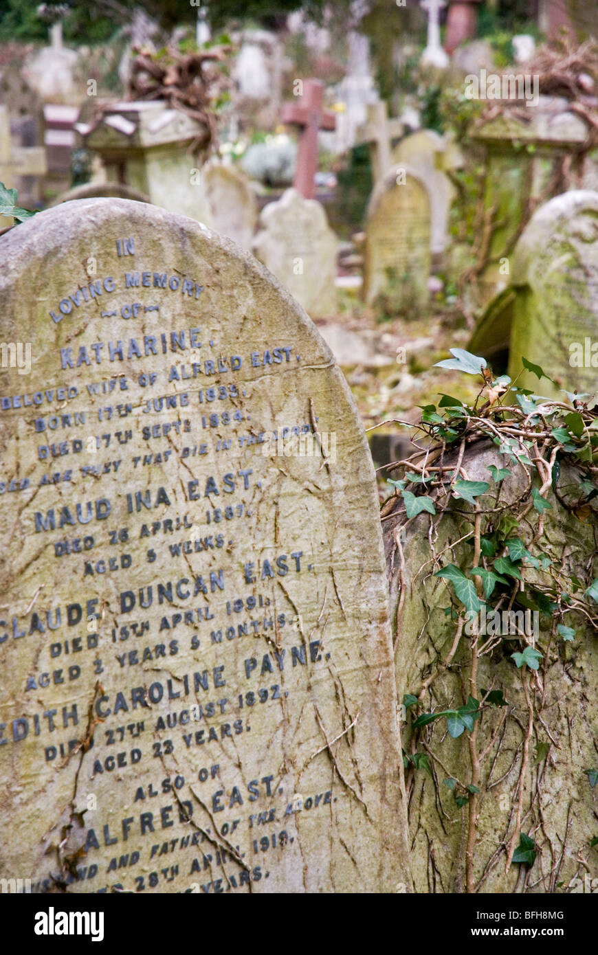 Headstones at Highgate cemetery in London England UK - Stock Image