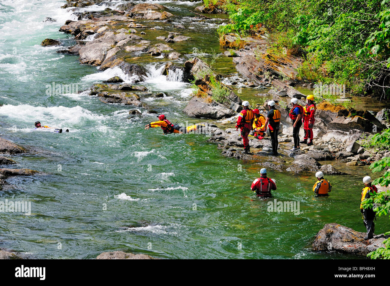 A Search and Rescue team training in the Cowichan River near Skutz Falls near Lake Cowichan, BC. - Stock Image