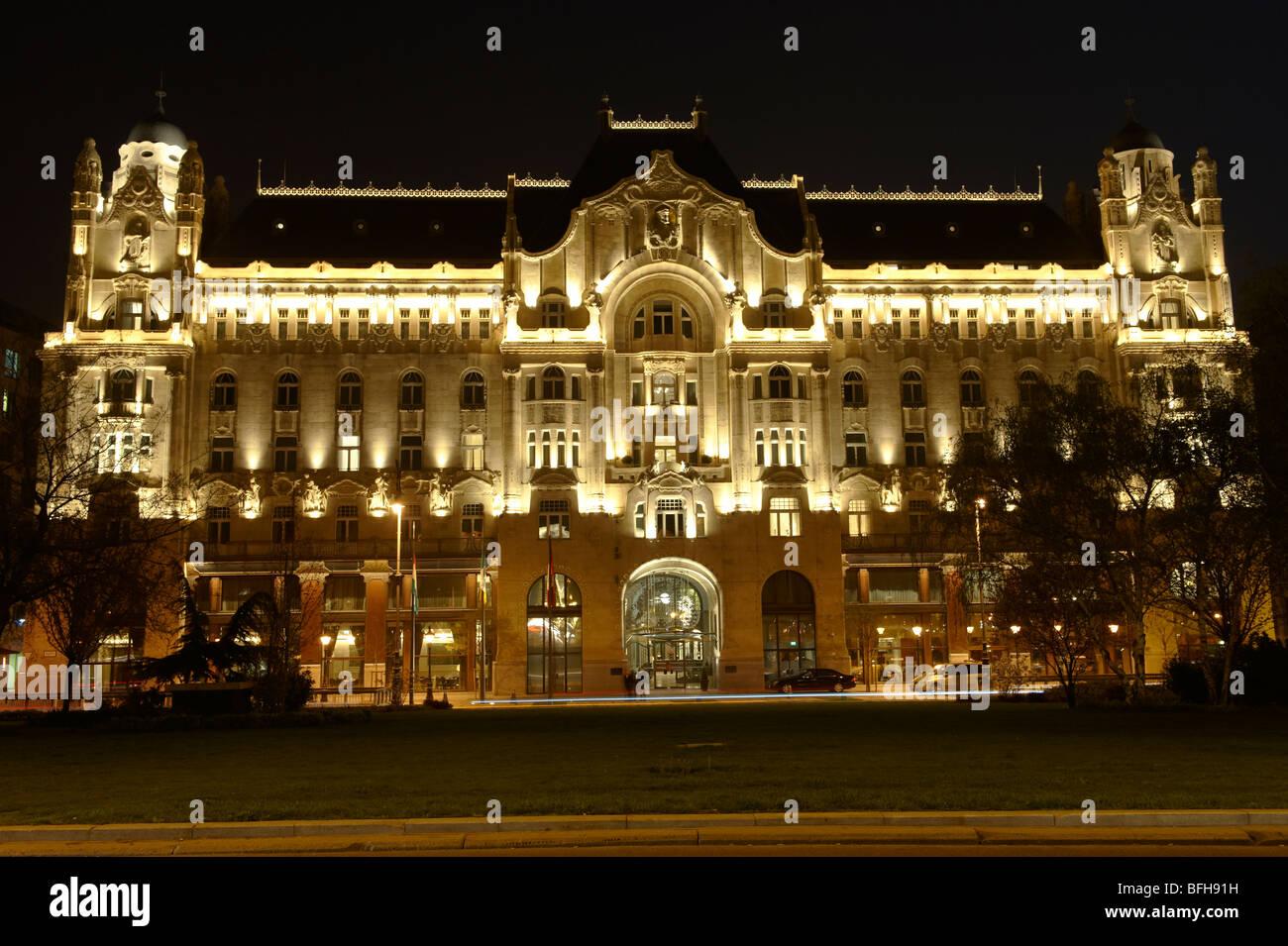 Gresham Palace ; Four Seasons ; Budapest; Hungary; night - Stock Image