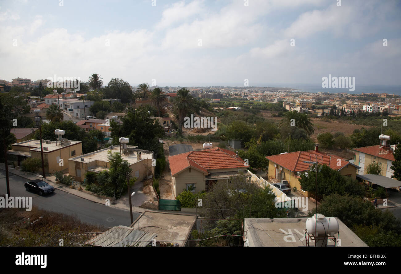 view over lower paphos from the old town republic of cyprus europe - Stock Image