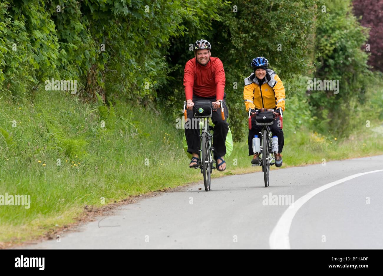 Bike touring at Qualicum Beach,Vancouver Island, British Columbia, Canada. - Stock Image