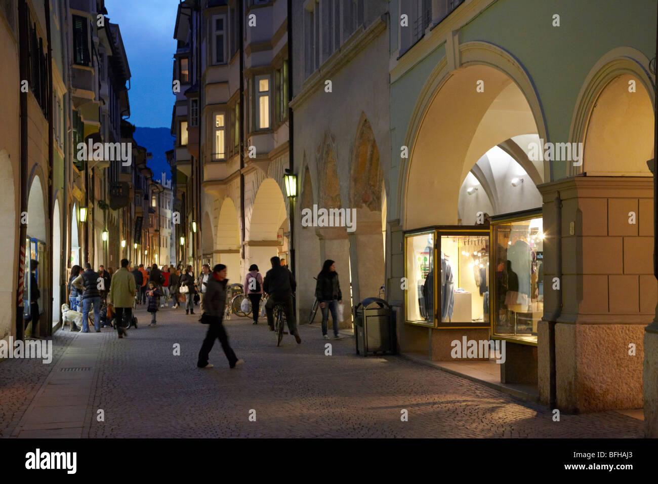 Cobbled street in the historical centre of Bolzano, Alto Adige, Italy. - Stock Image