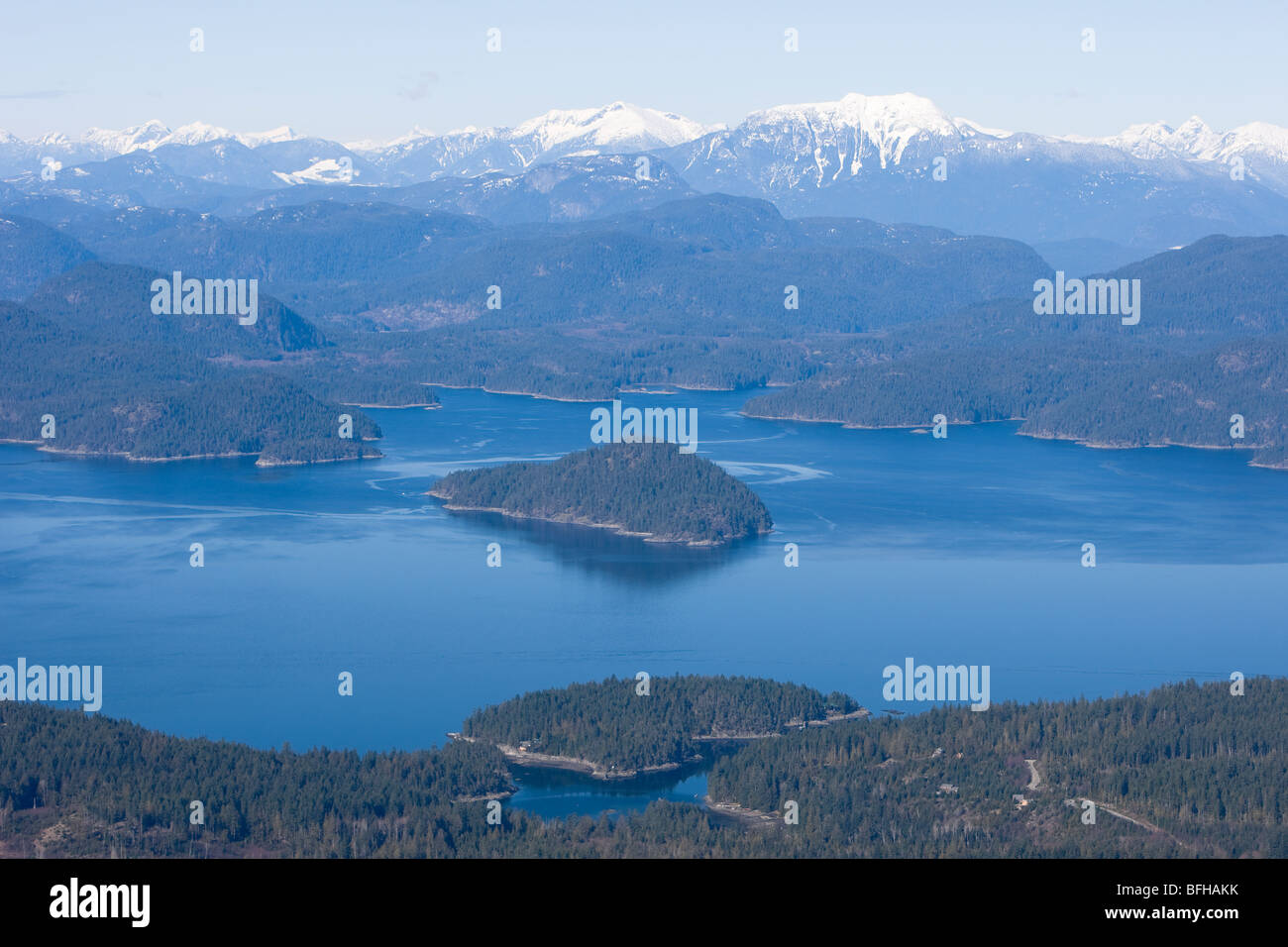 Aerial view of Sutil Channel, Cortes Island in very Foreground, Discovery Island's, British Columbia, Canada. - Stock Image