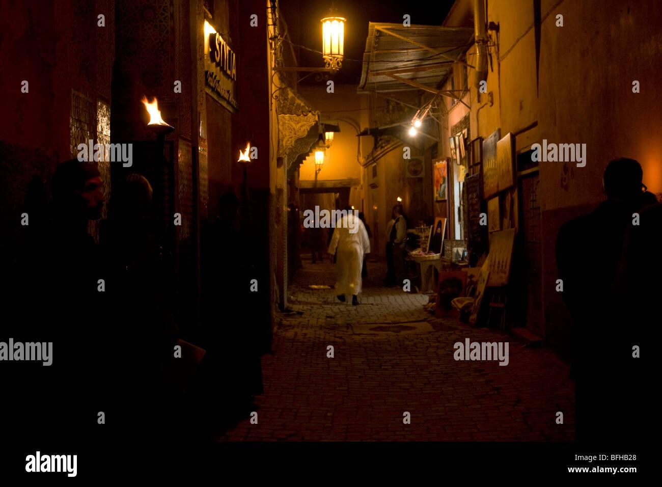Night time street scene in the medina in Marrakesh, Morocco Stock Photo