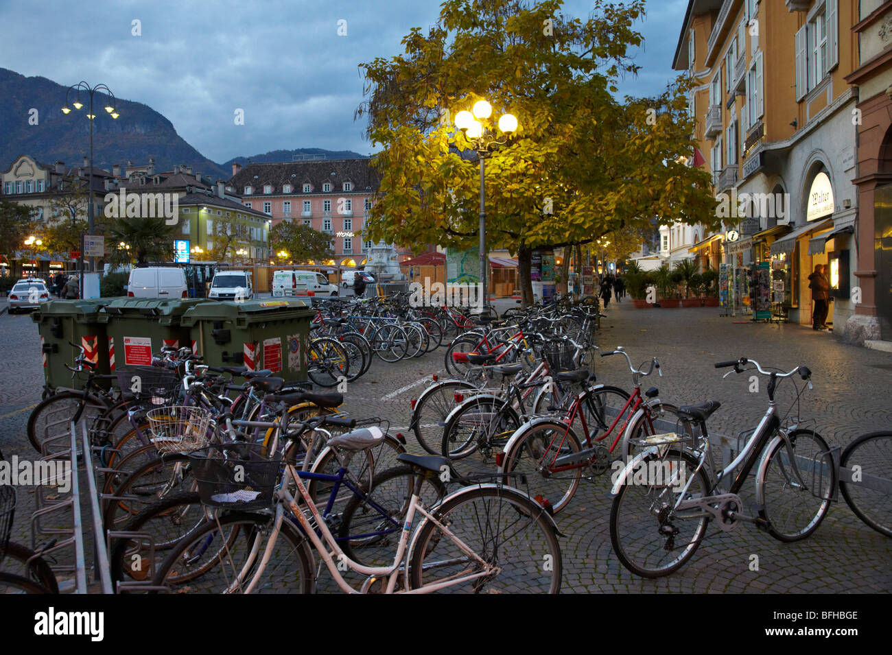 Bike racks and rubbish bins in the historical centre of Bolzano, Alto Adige, Italy. - Stock Image