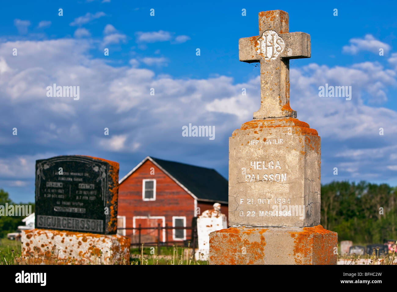 Grave markers in Icelandic Cemetary, Hecla Village, Hecla Island Provincial Park, Manitoba, Canada. - Stock Image