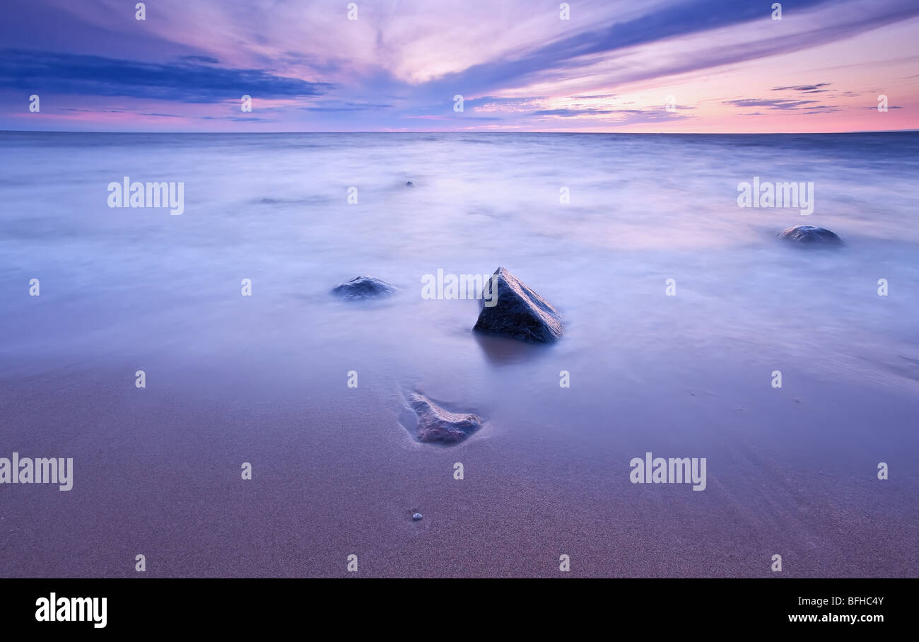 Lake Winnipeg at sunset.  Lester Beach, Manitoba, Canada. - Stock Image