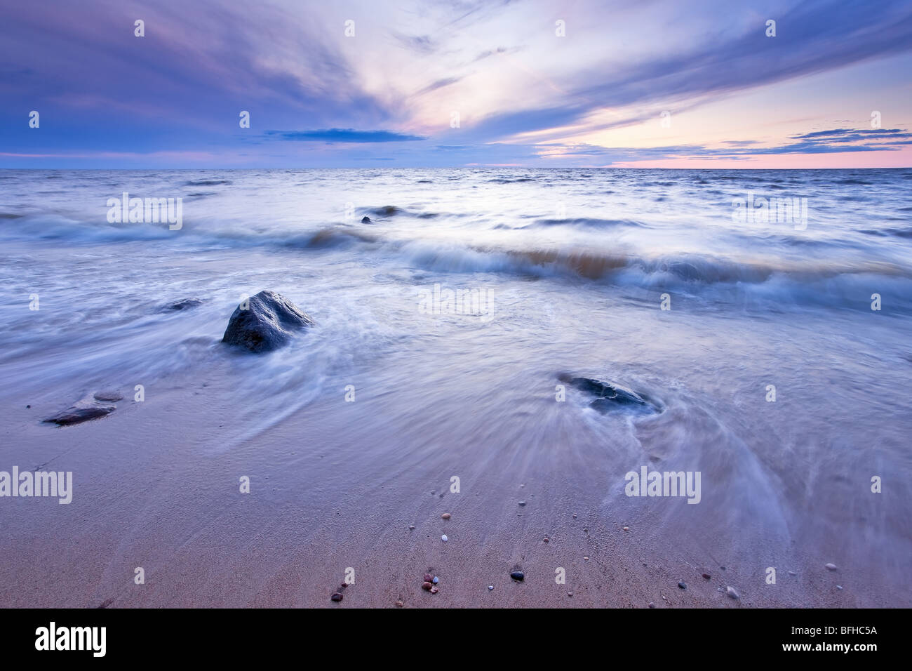 Lake Winnipeg at dusk.  Lester Beach, Manitoba, Canada. - Stock Image