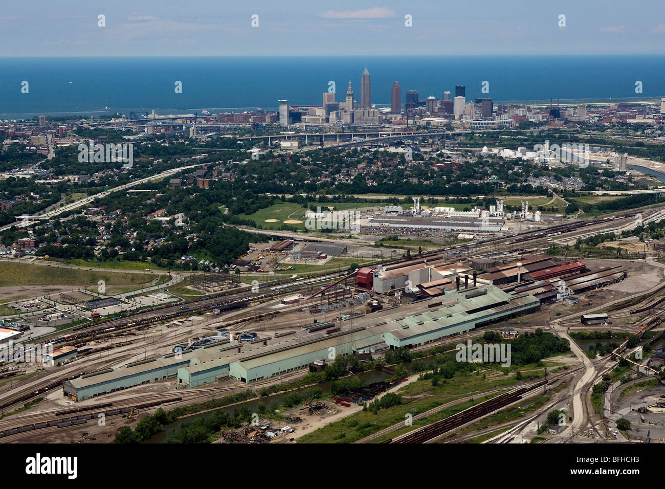 aerial view above Cleveland steel mills downtown Lake Erie Ohio - Stock Image