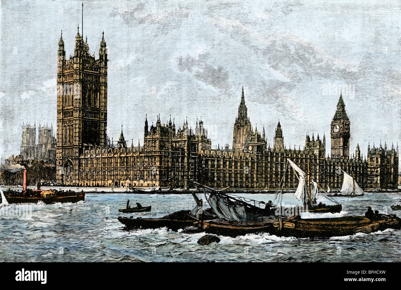 Westminster and the Houses of Parliament from the Thames, 1800s. Hand-colored woodcut Stock Photo