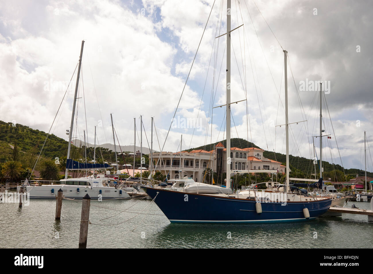 Yachts in marina at Jolly Harbour, Antigua, Caribbean West Indies - Stock Image