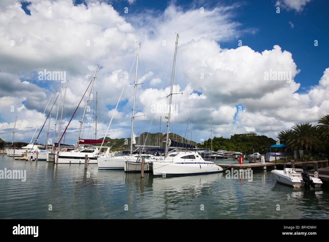 Yachts in marina at Jolly Harbour, Antigua Caribbean West Indies - Stock Image