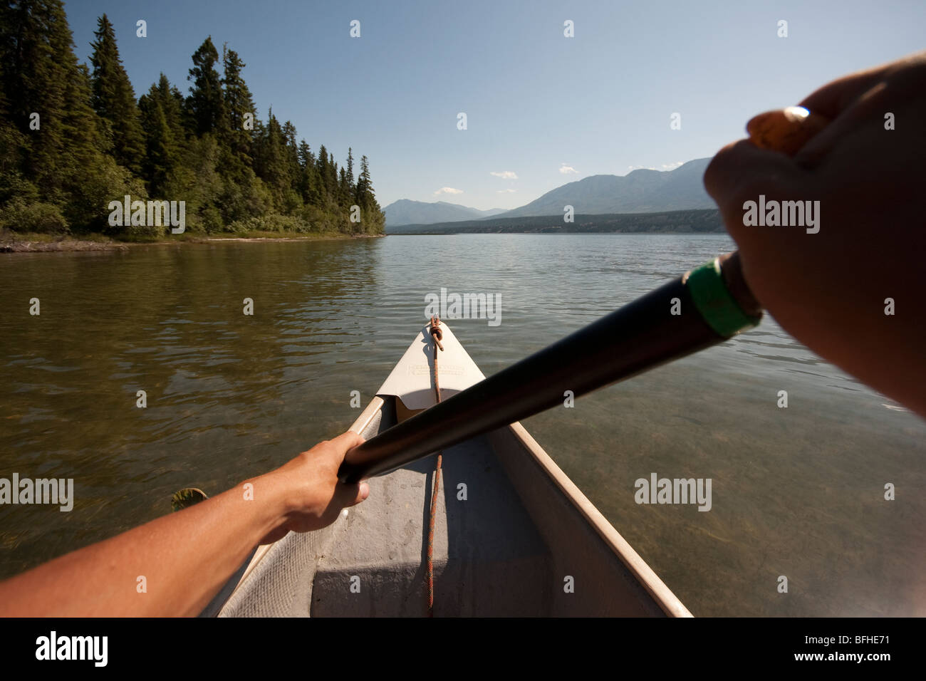 A canoe trip in Columbia Lake, the head waters of the Columbia River - Stock Image