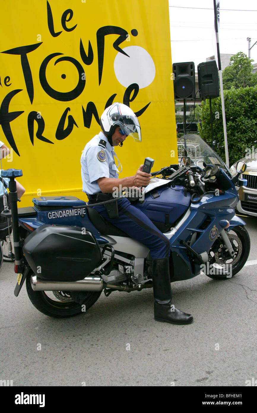 French motorcycle 'Gendarmerie' police, Tour de France 2009 - Stock Image