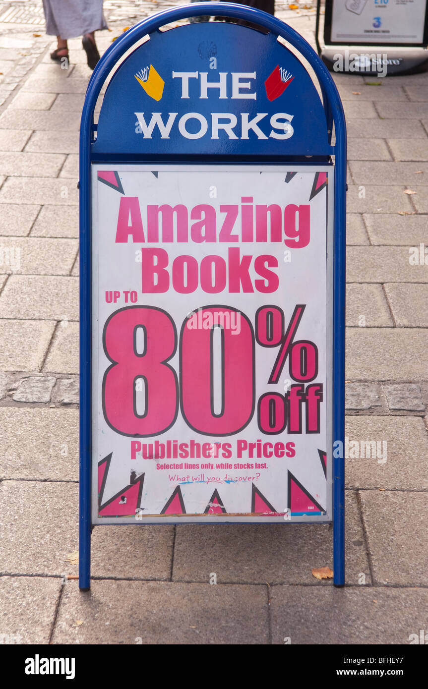 A Sign Advertising Cheap Books Outside The Works Shop Store In  Norwich,Norfolk,Uk