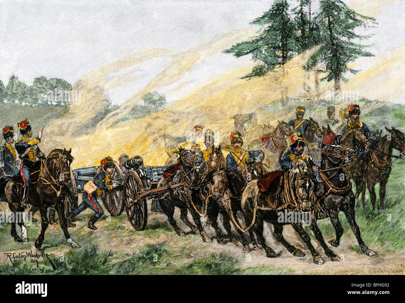 Royal Horse Artillery practicing, England, 1890. Hand-colored woodcut - Stock Image