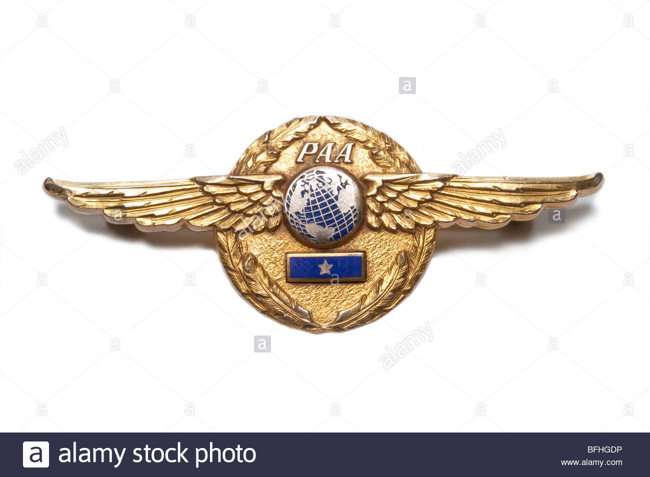 This is a 1950's era Pan Am Pilots wing.  Made by Balfour, would have been worn on the Pilots Uniform and flown - Stock Image