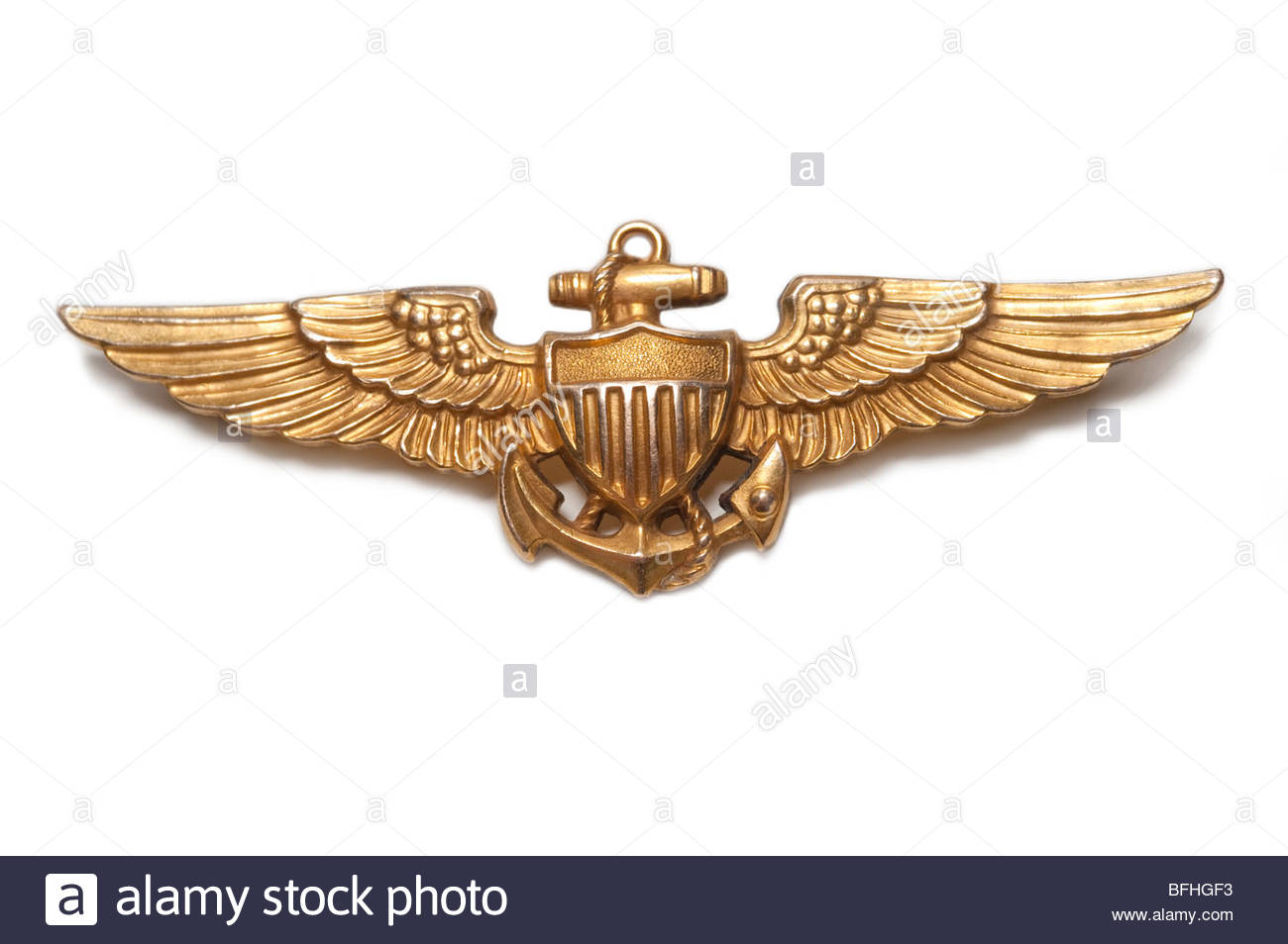 World War Two US Navy Pilots Wings Gold Filled dated actual wings from 1943 - Stock Image