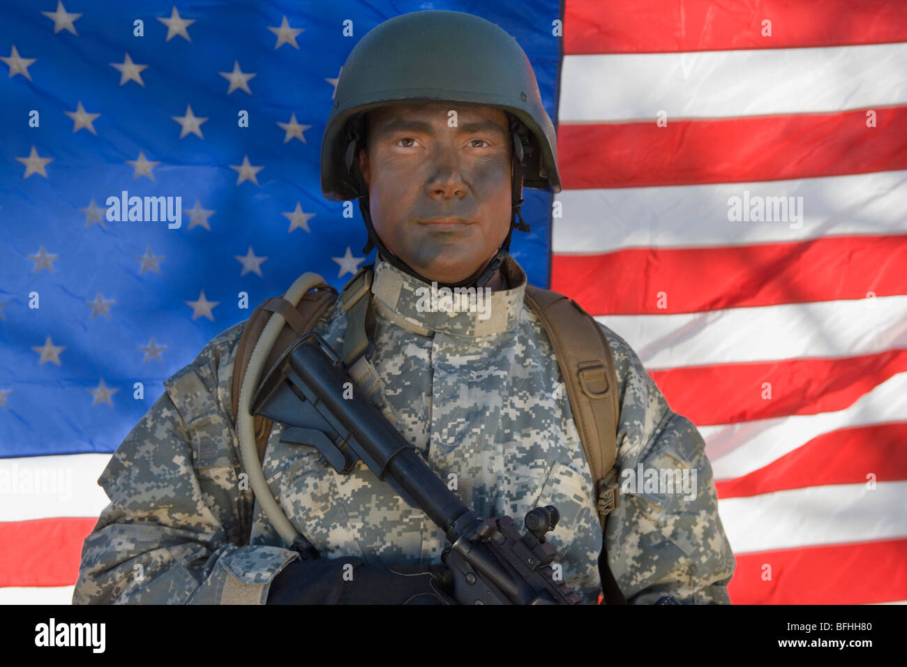 Portrait of US army soldier - Stock Image