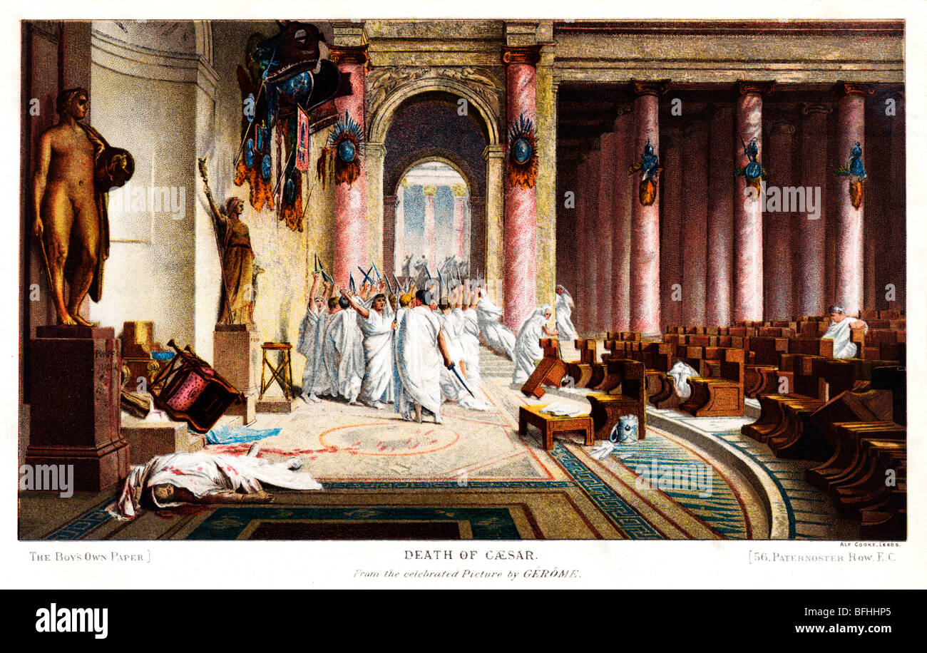 The Death Of Caesar, print from the painting by Gerome of the murder in the Roman Senate - Stock Image