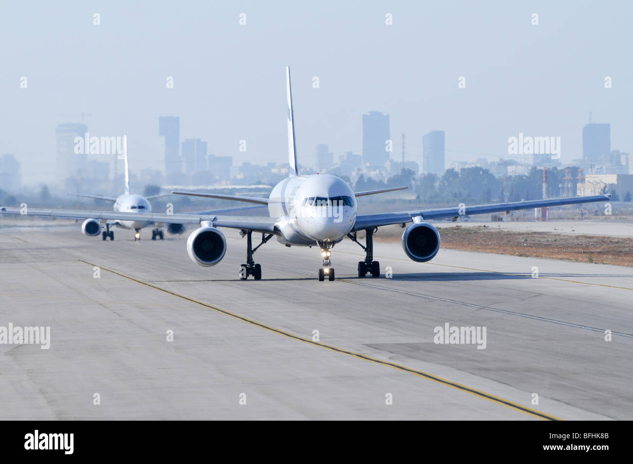 Israel, Ben-Gurion international Airport passenger jets lined up for takeoff - Stock Image