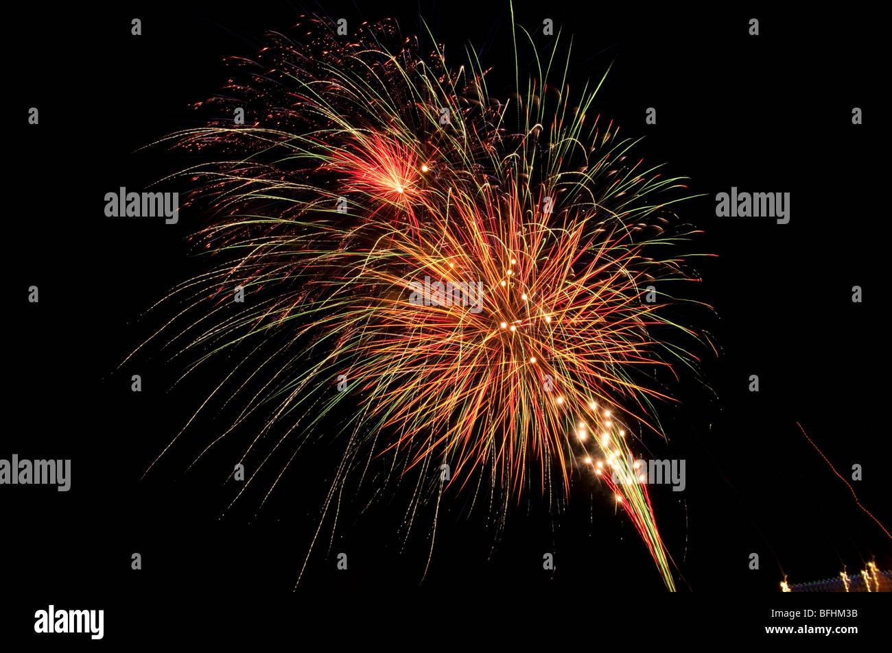 Europe, UK, england, kent, broadstairs 2009 fireworks - Stock Image