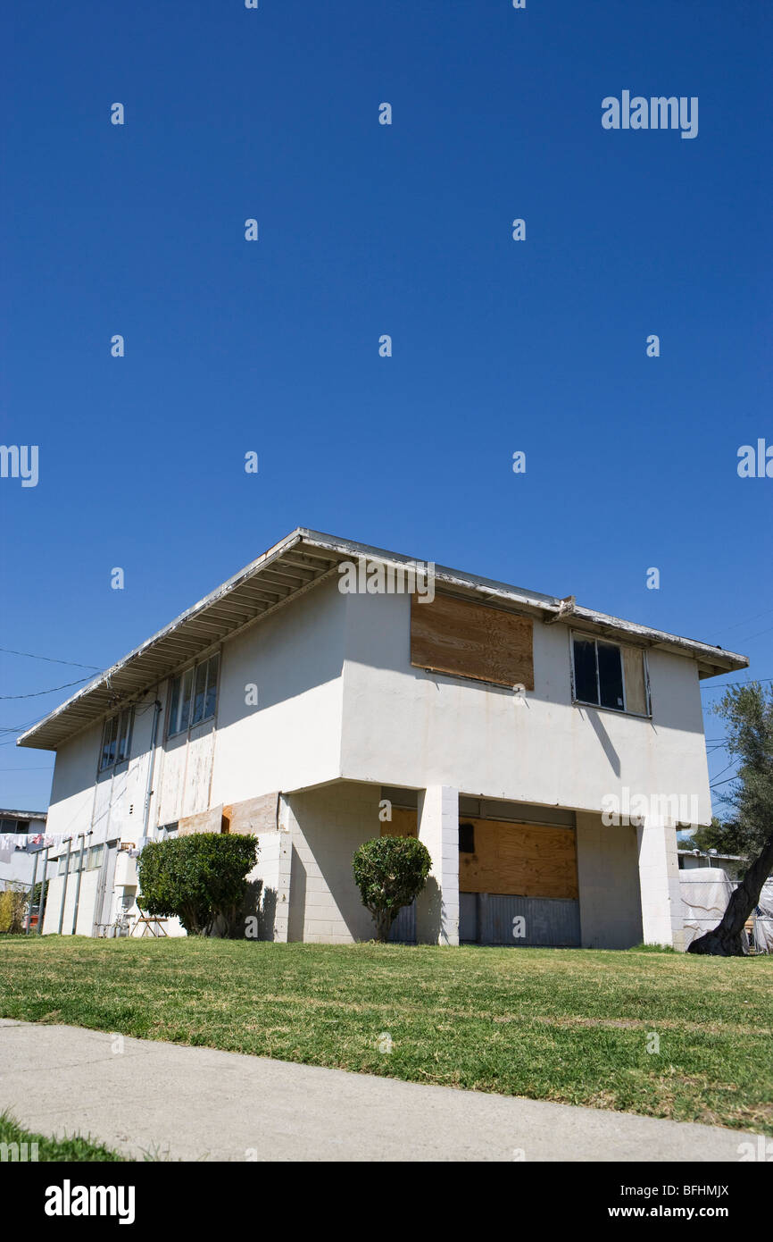Boarded Up Building - Stock Image