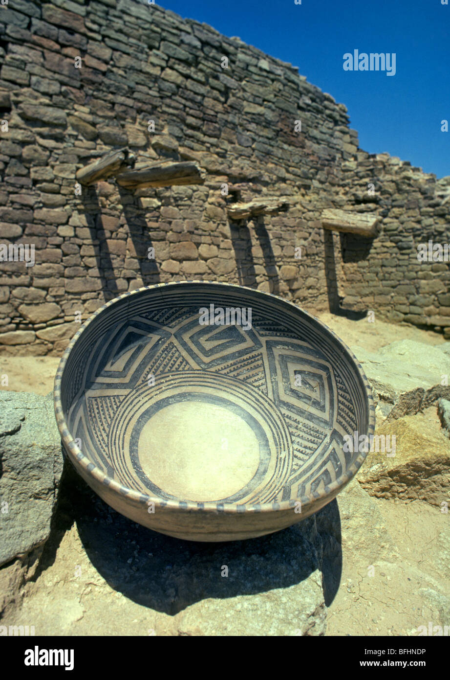 One thousand year old Anasazi pottery bowl in the 4-corners area of the American southwest - Stock Image