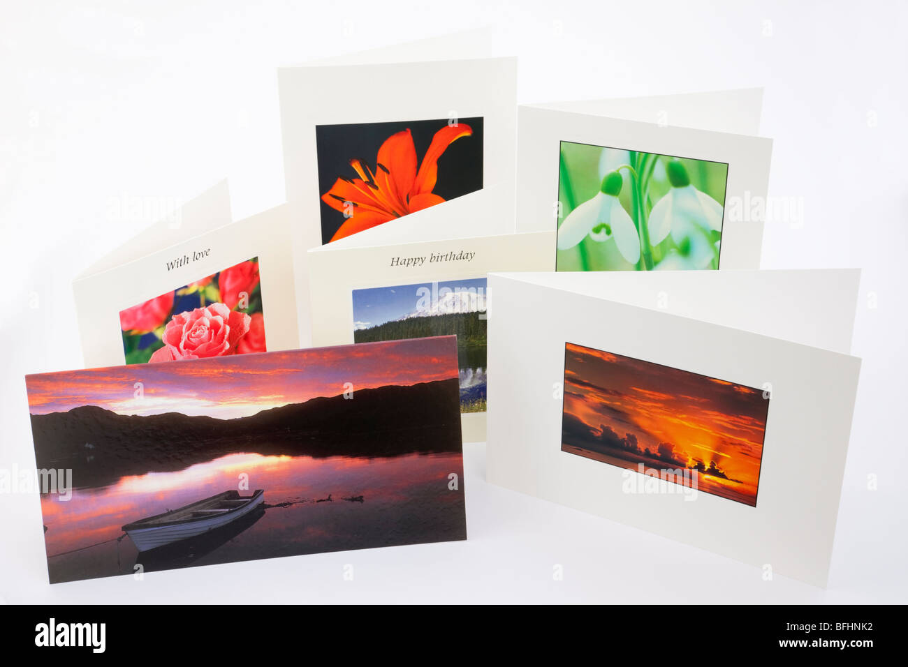 Six photographic Greetings cards on a plain white background - Stock Image