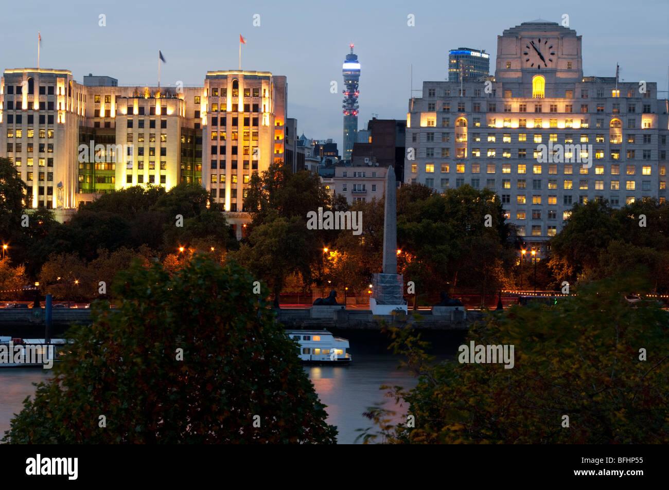 Europe, UK, england, London, embankment, telecom tower dusk - Stock Image