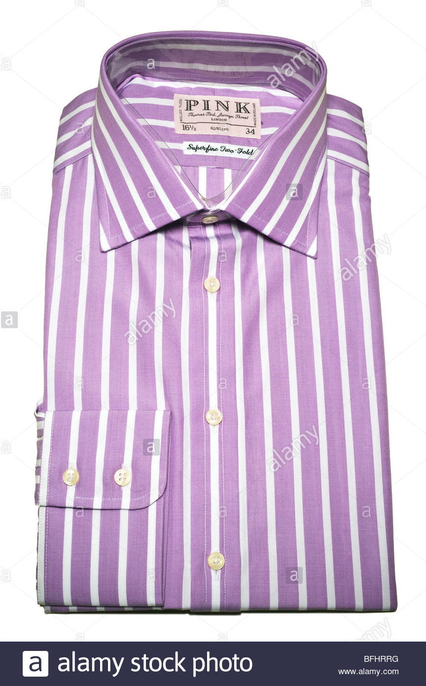 Lilac colored mens dress shirt made by  Thomas Pink Fine London Tailors, these are expensive shirts $200-300, made - Stock Image